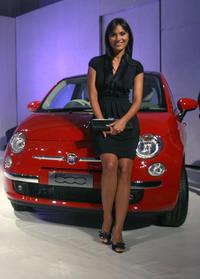 Lara Dutta at the launch of new Fiat 500 motorcar in Mumbai.