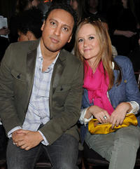 Comedians Aasif Mandvi and Samantha Bee at the Banana Republic Fall 2011 Collection fashion show.