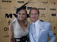 Sonja Kruger and Carson Kressley at the AAMI Victoria Derby Day.
