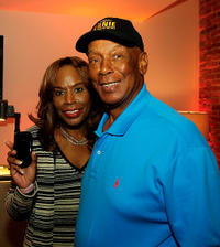 Liz and Ernie Banks at the Palm Gift Lounge at the Ryan Howard All Star Bash in Missouri.