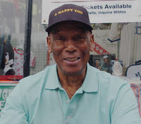 Ernie Banks at the Baseball Hall of Fame in New York.