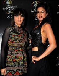 Neeta Lulla and Sameera Reddy at the Fashion show in Mumbai.