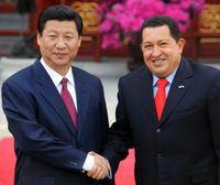 Vice President Xi Jinping and Hugo Chavez at the meeting in Beijing.