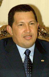 Hugo Chavez at the meeting with Iranian counterpart Mohammad Khatami in Tehran.