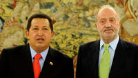 Hugo Chavez and Juan Carlos at the Zarzuela Palace in Spain.