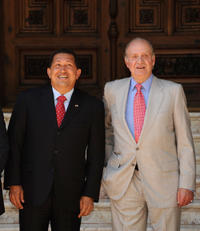 Hugo Chavez and Juan Carlos at the Marivent Palace in Spain.