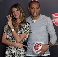 Gisele Bundchen and Thierry Henry at the press conference to announce Ebel as official timing partner of Arsenal football club.
