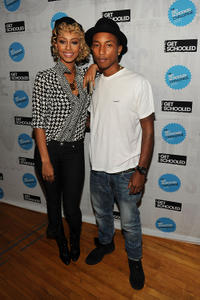 Singer Keri Hilson and Pharrell Williams at the Get Schooled National Challenge & Tour in New York.