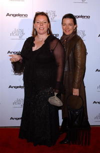 Joanna Scanlan and Laura Edwards at the Angeleno Magazine and Lion Gates pre-Oscar party.