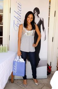 Erica Hubbard at the Frederic Fekkai booth during the 2008 DPA Garden Party gift suite.