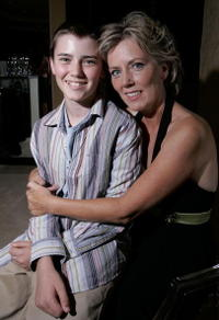 Cameron Bright and his mother Susan at the after party of