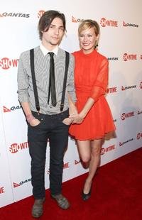 John Patrick Amedori and Brie Larson at the premiere of