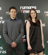 Will Gluck and Emma Stone at the photocall of