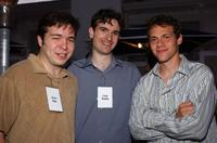 Writer Carter Bays, Craig Thomas and Will Gluck at the Twentieth Century Fox Television's New Season party.
