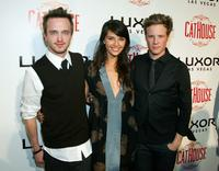 Aaron Paul, Tamara Feldman and Ashton Holmes at the grand opening of the CatHouse.