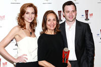 Hilarie Burton, Laurie Metcalf and Eddie K. Thomas at the 26th Annual Lucille Lortel Awards in New York.