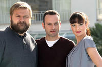 Writer Robert Kirkman, Andrew Lincoln and Sarah Wayne Callies at the photocall of