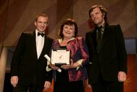 Hanna Laslo, Ralph Fiennes and Emir Kusturica at the Closing Awards Ceremony during the 58th International Cannes Film Festival.