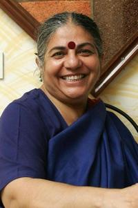 Dr. Vandana Shiva at the office in New Delhi.