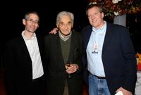 Producer Anthony Arnove, Howard Zinn and Chris Moore at the premiere of