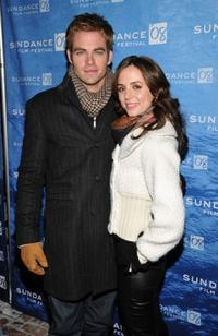 Chris Pine and Eliza Dushku at the premiere of