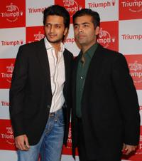 Ritesh Deshmukh and Karan Johar at the premiere of