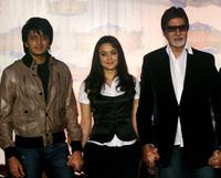 Ritesh Deshmukh, Priety Zinta and Amitabh Bachchan at the press conference to announce