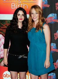 Vanessa Marano and Katie Leclerc at the Planet Hollywood Times Square in New York.