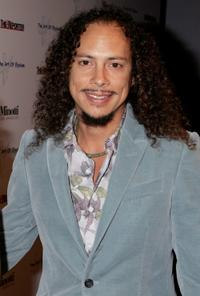 Kirk Hammett at the West Coast opening of works by artist Russell Young entitled