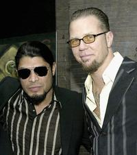 Robert Trujillo and James Hetfield at the premiere of