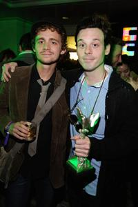 Scoot McNairy and Guest at the 24th Annual Film Independent's Spirit Awards celebration.