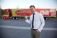 Morgan Spurlock on the set of