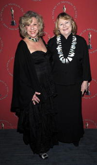 Shirley Knight and Erica Jong at the Academy of Motion Picture Arts and Sciences official Oscar Celebration.