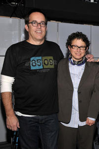 Director of programming for The Sundance Institute John Cooper and B. Ruby Rich at the Queer Lounge during the 2009 Sundance Film Festival in Utah.