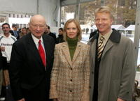Ed Koch, Cynthia Nixon and Phil Simms at the Cynthia Nixon Demonstrates Citibank's New MasterCard Key Fob.
