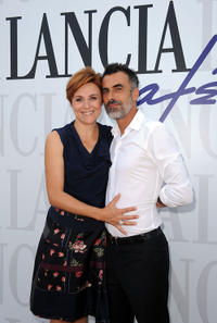 Michela Cescon and Thomas Trabacchi at the Lancia Cafe during the 68th Venice Film Festival.