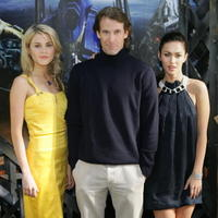 Australian actress Rachael Taylor, Director Michael Bay and actress Megan Fox at a press conference in Sydney.