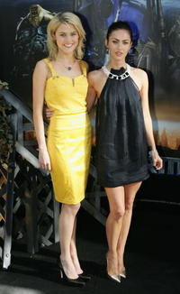 Actresses Megan Fox and Rachael Taylor at a press conference in Sydney.