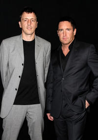 Atticus Ross and Trent Reznor at the 36th Annual Los Angeles Film Critics Association Awards.
