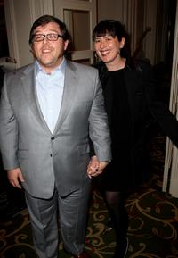 Nick Frost and his guest at the drinks reception during the Sony Ericsson Empire Awards 2008.