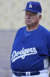 Tommy Lasorda at the Dodger Stadium in Los Angeles.