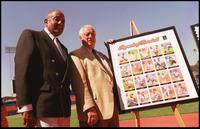 Don Newcome and Tommy Lasorda at the unveiling of