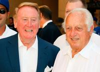 Vin Scully and Tommy Lasorda at the special star ceremony.