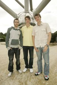 Matthew Lewis, Oliver Phelps and James Phelps at the Brussels Atomium.