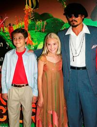 Jordan Fry, Annasophia Robb and Johnny Depp at the UK premiere of
