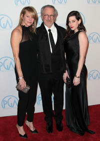 Kate Capshaw, director Steven Spielberg and Sasha Spielberg at the 23rd Annual Producers Guild Awards in California.