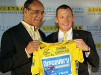 Dr. Harold Freeman and Lance Armstrong at the launch event for the Lance Armstrong Foundation's fifth annual Livestrong Day.
