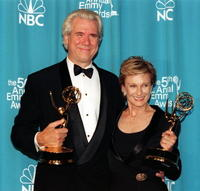 John Larroquette and Cloris Leachman at the 50th Annual Primetime Emmy Awards.