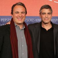 Robert Baer and George Clooney at the press conference of