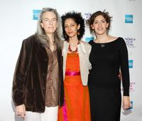 Producer Joslyn Barnes, Suheir Hammad and Annemarie Jacir at the premiere of